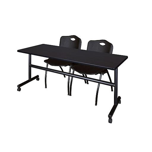 "Regency Kobe 72"" Flip Top Mobile Training Table- Mocha Walnut and 2 'M' Stack Chairs- Black (MKFT7224MW47BK)"