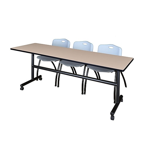"""Regency Kobe 84"""" Flip Top Mobile Training Table- Beige and 3 'M' Stack Chairs- Grey (MKFT8424BE47GY)"""