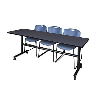 Regency – Table rabattable et mobile Kobe de 84 po, gris, avec 3 chaises empilables Zeng, bleu (MKFT8424GY44BE)
