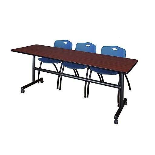 """Regency Kobe 84"""" Flip Top Mobile Training Table- Mahogany and 3 'M' Stack Chairs- Blue (MKFT8424MH47BE)"""