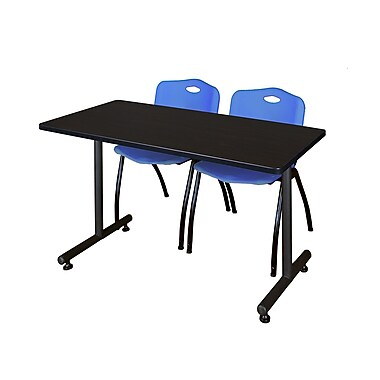 Regency – Table Kobe de 42 x 24 po, noyer moka et 2 chaises empilables, bleu (MKTRCT42MW47BE)