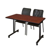 """Regency Kobe 42"""" x 24"""" Mobile Training Table- Cherry and 2 Mario Stack Chairs- Black  (MKTRCC42CH75BK)"""