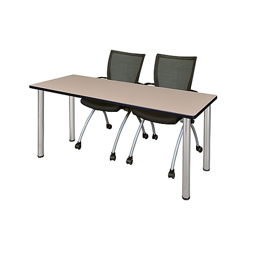 "Regency Kee 60"" x 24"" Training Table- Beige/ Chrome and 2 Apprentice Chairs- Black  (MT60BEBPCM09BK)"