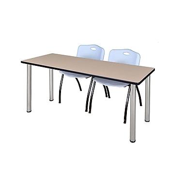 Regency – Table de formation Kee de 60 x 24 po, beige/chrome, avec 2 chaises empilables M, gris (MT60BEBPCM47GY)