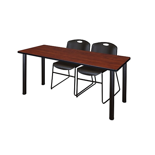 """Regency Kee 60"""" x 24"""" Training Table- Cherry/ Black and 2 Zeng Stack Chairs- Black  (MT60CHBPBK44BK)"""