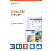 Microsoft Office 365 Personal 12-month subscription, 1 person, PC/Mac Key Card