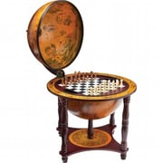 BNFUSA Kassel 13 in. Diameter Globe with 57 Pieces Chess and Checkers Set( BNF1644)