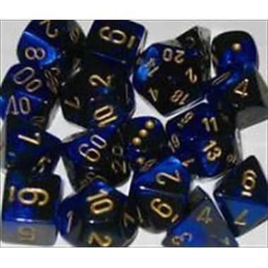 Chessex Manufacturing 26435 Cube Gemini Set Of 7 Dice - Black & Blue With Gold Numbering( ACDD2035)
