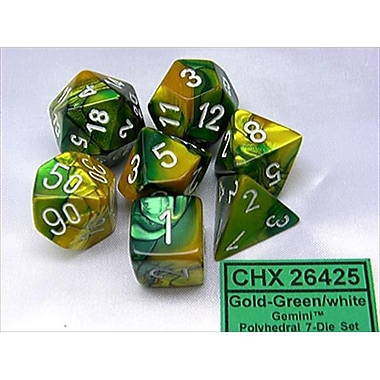 Chessex Manufacturing 26425 Cube Gemini Set Of 7 Dice - Gold & Green With White Numbering( ACDD2025)