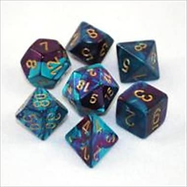 Chessex Manufacturing 26449 Cube Gemini Set Of 7 Dice - Purple & Teal With Gold Numbering( ACDD2048)