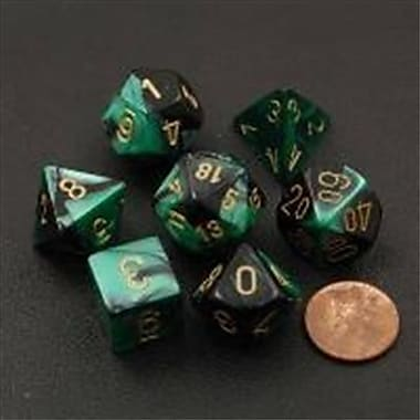Chessex Manufacturing 26439 Cube Gemini Set Of 7 Dice - Black & Green With Gold Numbering( ACDD2039)