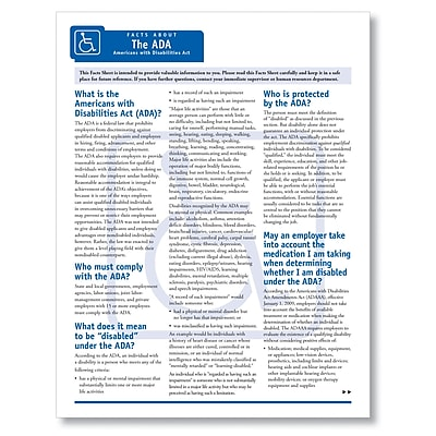 ComplyRight Facts Sheet About The ADA, Pack of 50 (A7010)