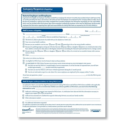 ComplyRight FMLA Eligibility Company Response Form, Pack of 50 (A1434)