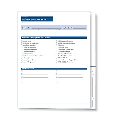 ComplyRight Concealed Cover Confidential Employee Record Folder, Pack of 25 (A0653)