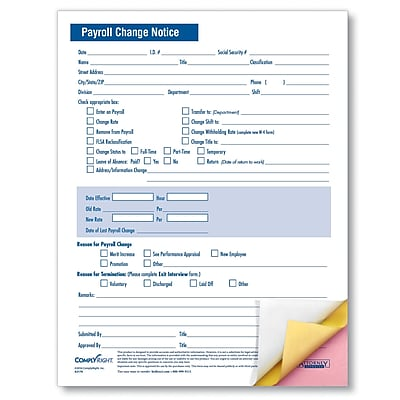 ComplyRight Payroll Change Notice, 3-Part, Pack of 50 (A2170)