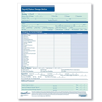 ComplyRight Payroll Status Change Notice, Pack of 50 (A2172)