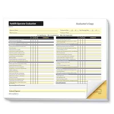 ComplyRight Forklift Operator Evaluation Form, Pack of 25 (W0300)