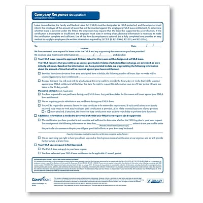 ComplyRight FMLA Designation Company Response Form, Pack of 50 (A1435)