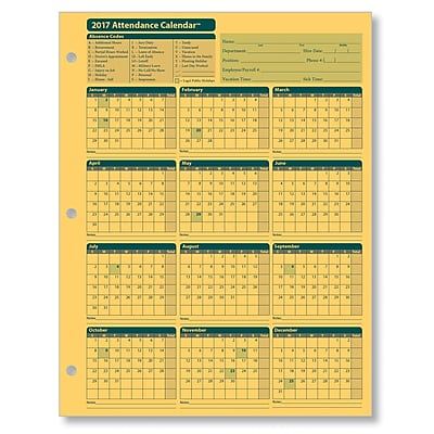 ComplyRight Attendance Calendar Card, Yellow, Pack of 50 (A4000Y50)