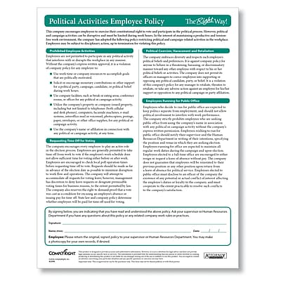 ComplyRight Political Activities Employee Policy Pack of 25 (A2246)