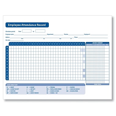 ComplyRight Employee Attendance Record, Pack of 50 (A2258)
