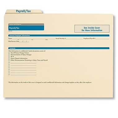ComplyRight Employee Payroll & Tax Records Organizer, Pack of 25 (A0311)