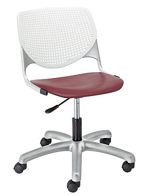 KFI TK2300-BP08SP07 KOOL Collection Burgundy & White Poly 5 Star Base with Casters