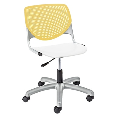 KFI TK2300-BP12SP08 KOOL Collection Yellow & White Poly 5 Star Base with Casters