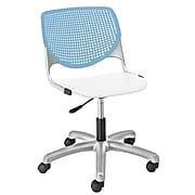 NRS. (2-1-17) KFI, TK2300-BP35SP08, KOOL Collection, Sky Blue & White Poly, 5 Star Base with casters,  armless,
