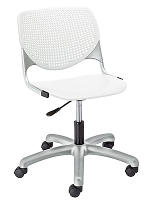 KFI TK2300-P08 KOOL Collection White Poly 5 Star Base with Casters Chair