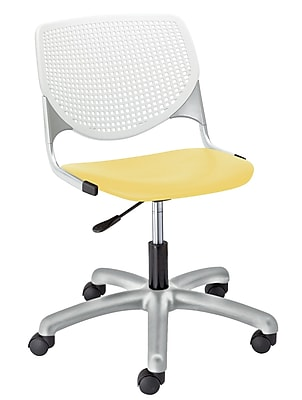 KFI TK2300-BP08SP12 KOOL Collection Yellow & White Poly 5 Star Base with Casters