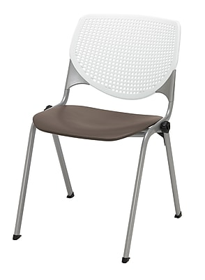 KFI Kool Collection Steel Frame Stack Chair White & Brownstone 2300-BP08-SP18