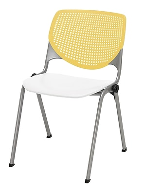 KFI Kool Collection Steel Frame Stack Chair Yellow & White 2300-BP12-SP08