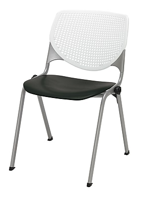 KFI Kool Collection Steel Frame Stack Chair White & Black 2300-BP08-SP10