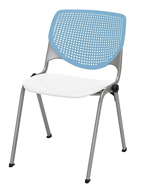 KFI Kool Collection Steel Frame Stack Chair Sky Blue & White 2300-BP35-SP08