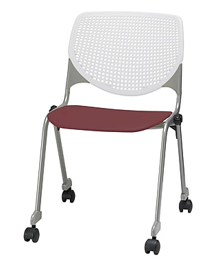 KFI CS200-BP08SP07 KOOL Collection Burgundy & White Poly Caster Chair