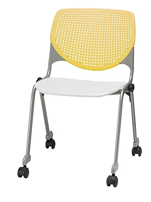 KFI CS200-BP12SP08 KOOL Collection Yellow & White Poly Caster Chair