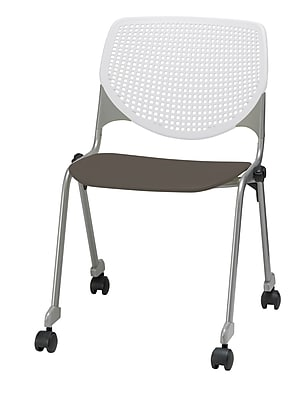 KFI CS200-BP08SP18 KOOL Collection Brownstone & White Poly Caster Chair