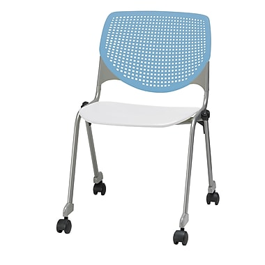 KFI CS200-BP35SP08 KOOL Collection Sky Blue & White Poly Caster Chair