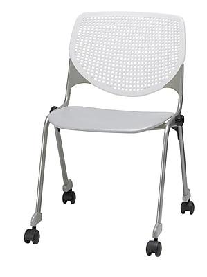 KFI CS200-BP08SP13 KOOL Collection Light Grey & White Poly Caster Chair