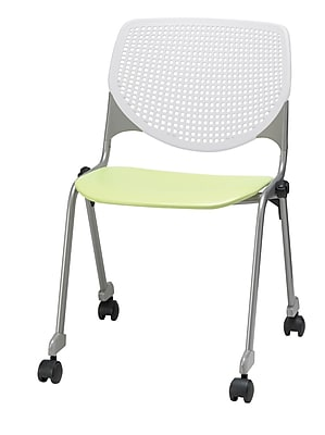 KFI CS200-BP08SP14 KOOL Collection Lime & White Poly Caster Chair