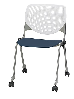 KFI CS200-BP08SP03 KOOL Collection Navy & White Poly Caster Chair
