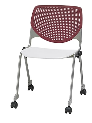KFI CS200-BP07SP08 KOOL Collection Burgundy & White Poly Caster Chair