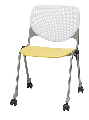 KFI CS200-BP08SP12 KOOL Collection Yellow & White Poly Caster Chair