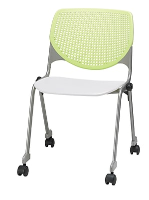KFI CS200-BP14SP08 KOOL Collection Lime Green & White Poly Caster Chair