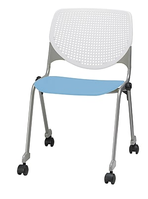 KFI CS200-BP08SP35 KOOL Collection Sky Blue & White Poly Caster Chair