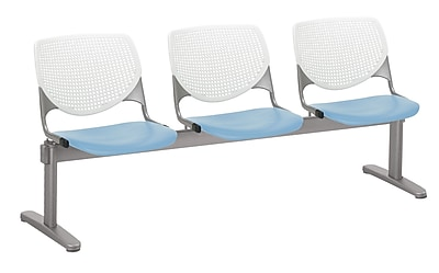 KFI 2300BEAM3B08S35 KOOL Collection White & Sky Blue 3 Seat Beam