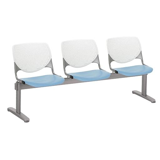 KFI 2300BEAM3B08S35 KOOL Collection White & Sky Blue  3 Seat Beam
