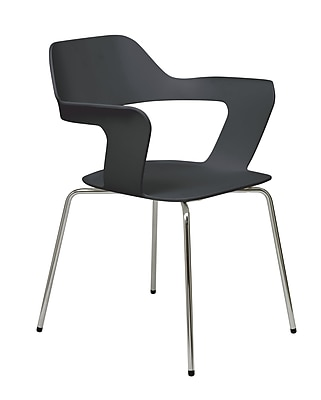 KFI Julep Collection Steel Frame Stack Chair White Poly 2500CH-Black