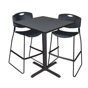 """Regency Cain 36"""" Square Cafe Table- Grey and 2 Zeng Stack Stools- Black (TCB3636GY4495BK)"""